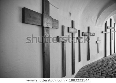 画像 · いい · 修道院 · 雲 · 木 · フィールド - ストックフォト © meinzahn