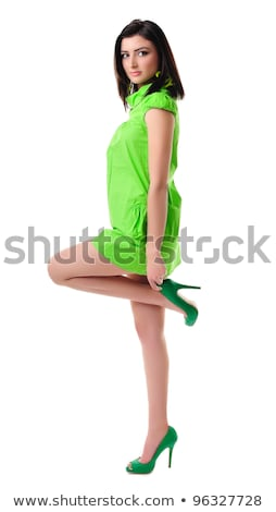 kaukasisch · meisje · militaire · stijl · jurk · geïsoleerd - stockfoto © elnur