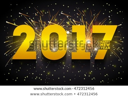 3d happy new year 2017 text on black background Foto d'archivio © SArts