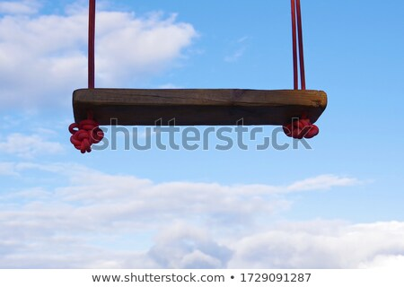 Swing on a tropical beach against the sunset. Wooden swing hanging from a tree on the beach Stock photo © galitskaya