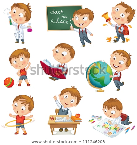 boy with crayon back to school cartoon color book Stock photo © izakowski