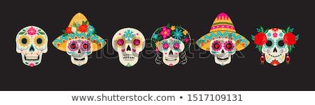 suiker · schedel · meisje · tattoo · een · kleur - stockfoto © lissantee