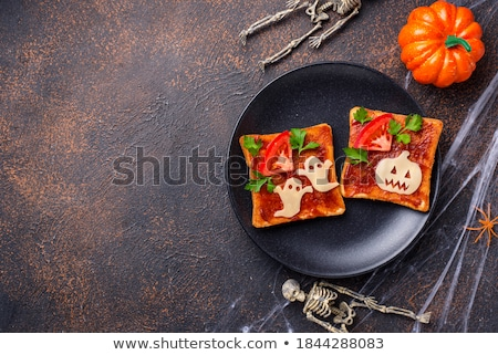Halloween sandwiches toasts with ghost and pumpkin Stock photo © furmanphoto