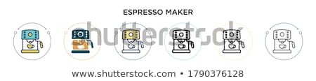 Eszpresszó gép kettő csészék szín vektor Stock fotó © pikepicture