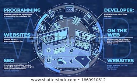 Promo poster beroep illustrator werk mooie Stockfoto © ConceptCafe