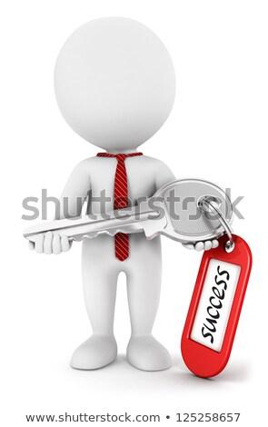 3d white people businessman the success key metaphor stock photo © texelart
