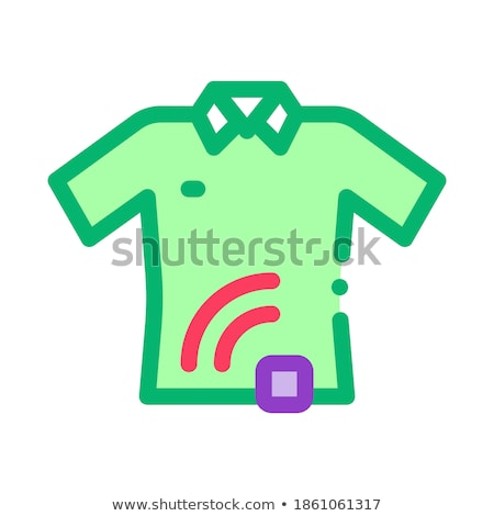 Stockfoto: T Shirt With Signal Sensor Icon Vector Outline Illustration