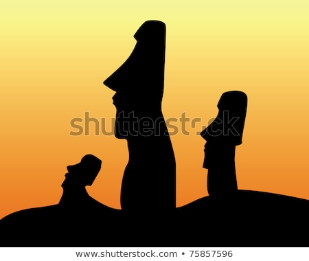 black silhouettes of the idols of Easter Island Stock photo © mayboro
