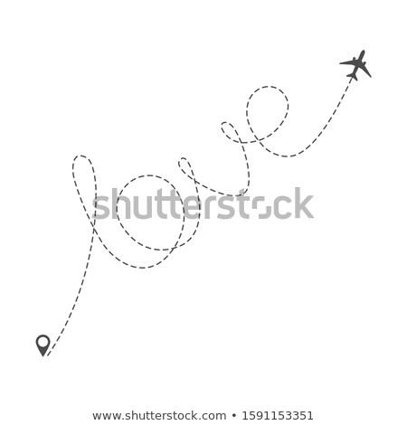 Aereo percorso punteggiata parola amore piano Foto d'archivio © -TAlex-