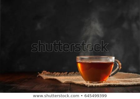 Beker zwarte thee houten donkere Stockfoto © Alex9500