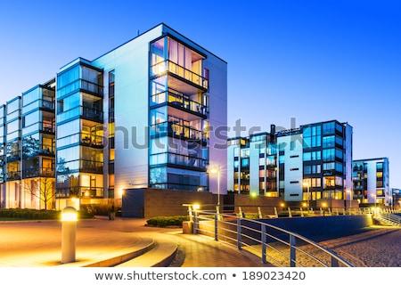 Homlokzat modern társasház városi ház épület Stock fotó © manfredxy