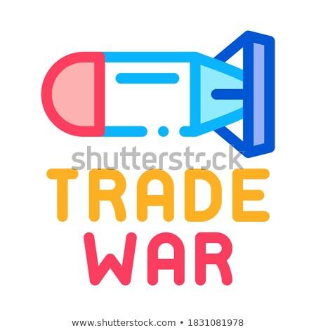 Kereskedelem háború ikon vektor skicc illusztráció Stock fotó © pikepicture