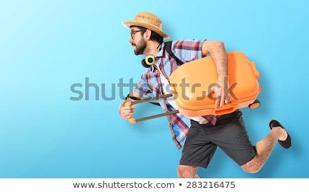 Man koffers geïsoleerd blanke man witte Stockfoto © Elnur