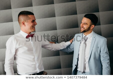 Laughing man in white shirt and tie Stock photo © Giulio_Fornasar
