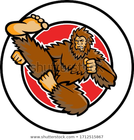 Taekwondo Bigfoot Flying Kick Circle Mascot Stock photo © patrimonio