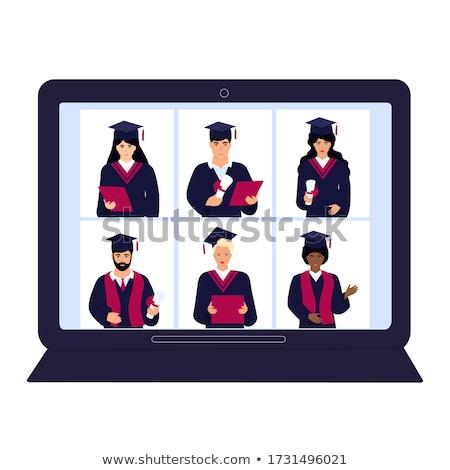 Virtual línea graduación ceremonia vector ilustración Foto stock © artisticco