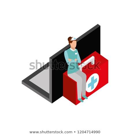 看護 座って キット 応急処置 を 薬 ストックフォト © yupiramos