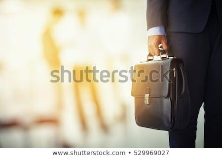 Işadamı evrak çantası tahta rapor iş toplantı Stok fotoğraf © yupiramos