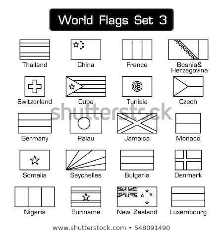 Bayrak ülke ulus Yeni Zelanda siyah beyaz tek renkli Stok fotoğraf © patrimonio