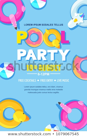 бассейна вечеринка отпуск рекламный Flyer плакат Сток-фото © pikepicture