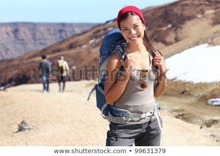 Felice ragazza turistica viaggio avventura giovani Foto d'archivio © Maridav