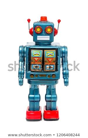 Foto stock: Brinquedo · robô · vermelho · branco · jogar · plástico