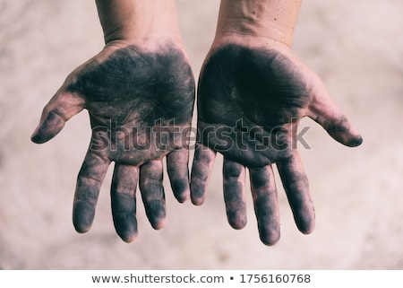 pieces of coal in dirty palm stock photo © pixelman