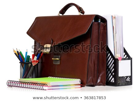 Brun cuir serviette bureau sac documents Photo stock © jet_spider