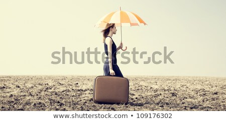 redhead girl with umbrella and suitcase at windy grass meadow stock photo © massonforstock