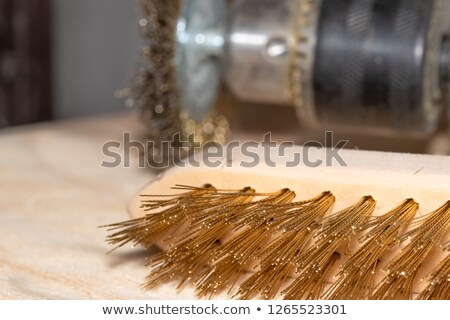 Stock photo: hard disks and clamp in rusty background