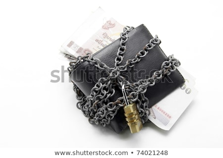Black Leather Wallet With Numeric Pad Lock And Thai Banknote Stok fotoğraf © vichie81