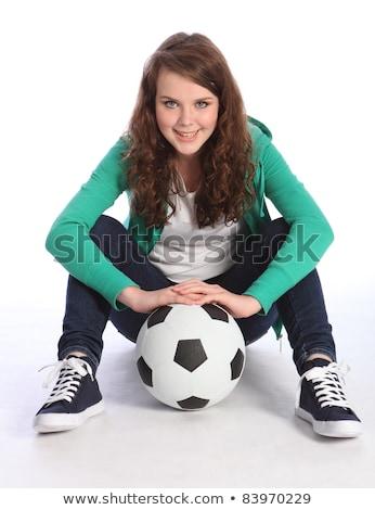 Cheerful blue eyed teenager girl relaxed on floor Stock photo © darrinhenry