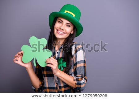 Smiling St. Patricks Day Leprechaun Holding Sign Stock photo © chromaco