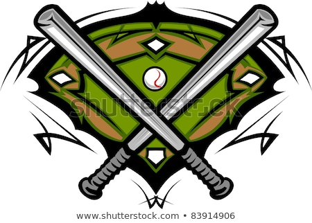 Foto d'archivio: Baseball Field With Softball Crossed Bats Vector Image Template