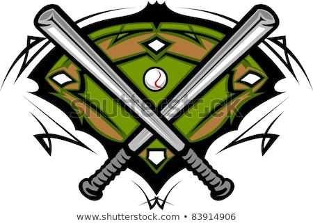Сток-фото: Baseball Field With Softball Crossed Bats Vector Image Template