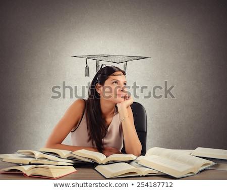 jovem · estudante · menina · lição · branco - foto stock © Rebirth3d