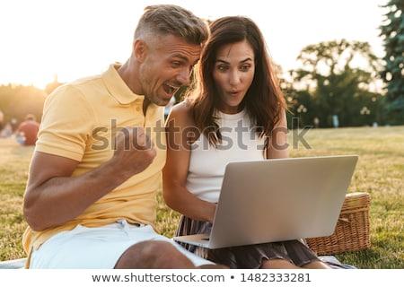 Pár ül laptop számítógépek haj otthon Stock fotó © photography33
