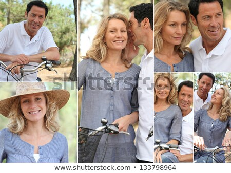 montage of a couple with bikes in the countryside stock photo © photography33