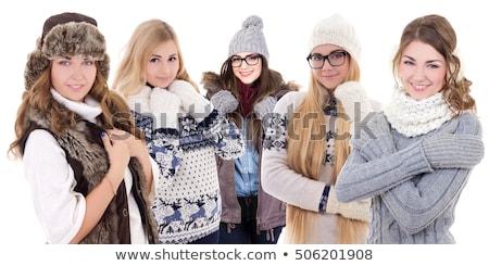 mulher · jovem · inverno · jaqueta · cachecol · boné - foto stock © dash