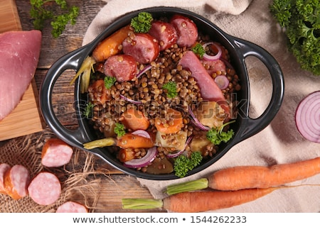 lentils with sausage and vegetable Stock photo © M-studio