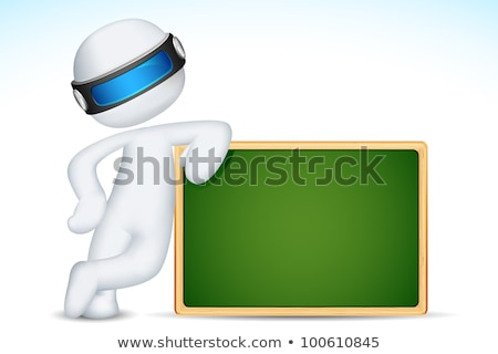 3d Man With Chalk Board Stockfoto © Vectomart