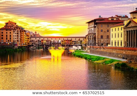 Сток-фото: Florence With Arno River And Ponte Vecchio At Sunset Italy