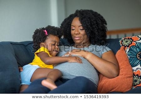 mulher · grávida · dois · crianças · família · mão - foto stock © privilege