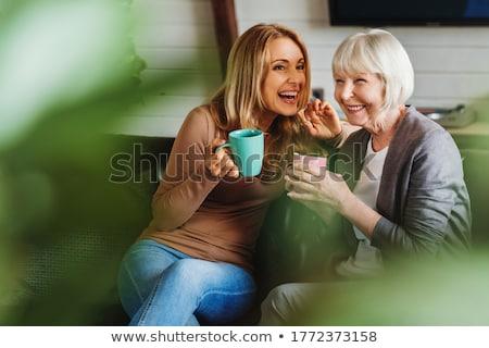 Büyükanne torun birlikte içme çay güzel Stok fotoğraf © privilege