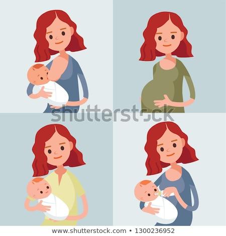 Belo grávida mãe filho menina Foto stock © privilege