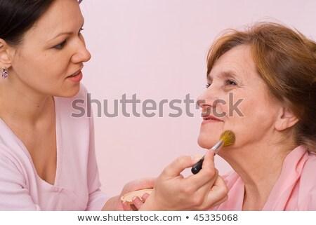 Menina mulher make-up beautiful girl mão Foto stock © privilege