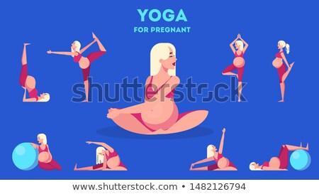 Mulher grávida ginástica rosa mão amor mulheres Foto stock © privilege