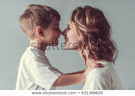 Stok fotoğraf: Erkek · mutlu · anne · pembe · kız · sevmek