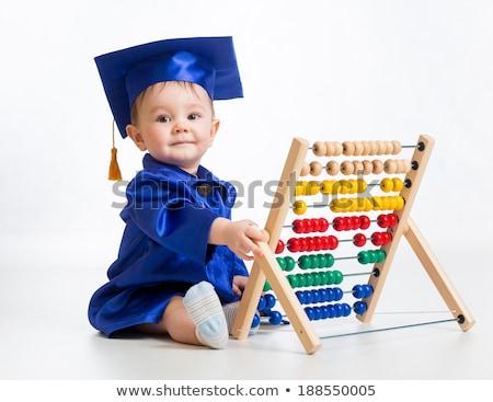 Bebek mezun küçük erkek kitaplar mezuniyet Stok fotoğraf © oneblink