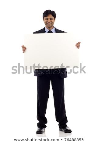 szczęśliwy · policjant · wskazując · biały · przestrzeni · odizolowany - zdjęcia stock © lisafx